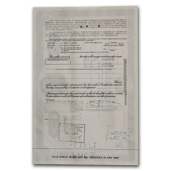 American General Insurance Company Stock Certificate ...