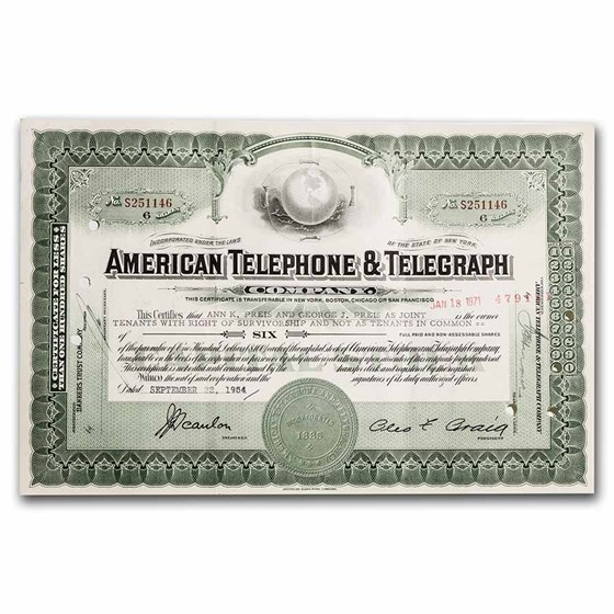 American Telephone and Telegraph Company Stock Certificate
