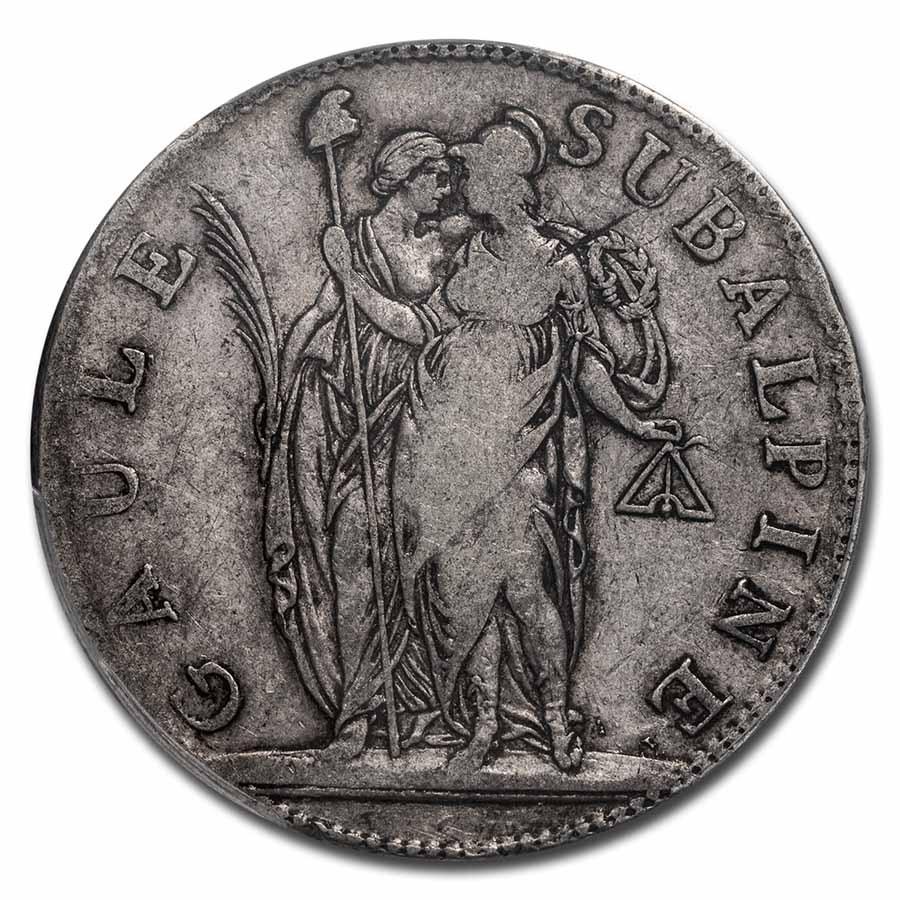AN 10 (1801) Piedmont Republic Silver 5 Francs VF-25 PCGS