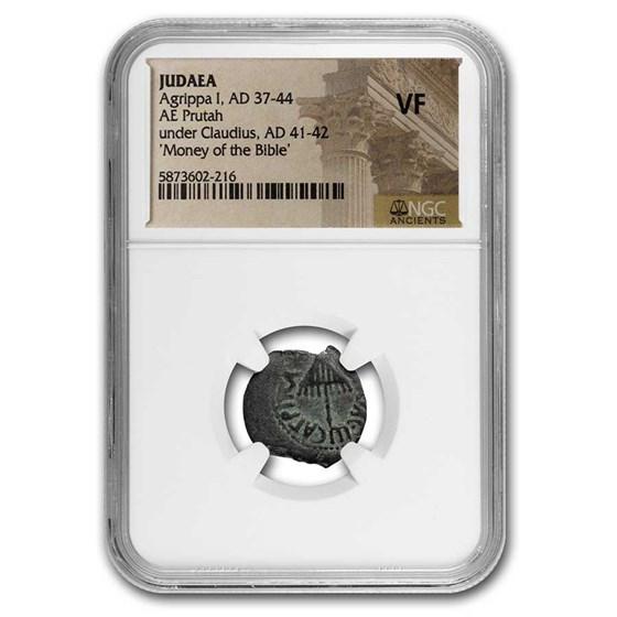 Ancient Judaea AE Prutah Agrippa I (37-44 AD) VF NGC
