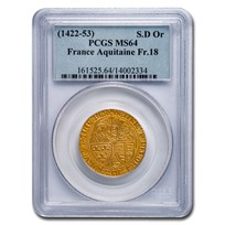 Anglo-France AV Salut d'Or. Henry VI (1422-1461 AD) MS-64 PCGS