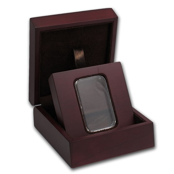 APMEX Wood Gift Box - 1 oz Silver Bar (w/Air-Tite Capsule)