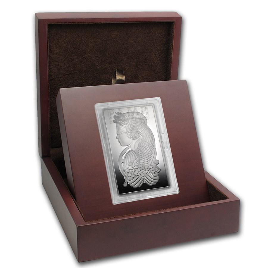 APMEX Wood Gift Box - 10 oz PAMP Suisse Silver Bar (w/Assay)