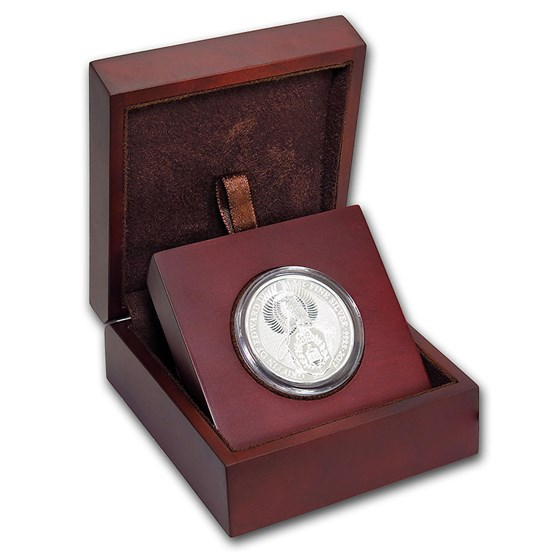APMEX Wood Gift Box - 2 oz Silver Queen's Beasts Coin