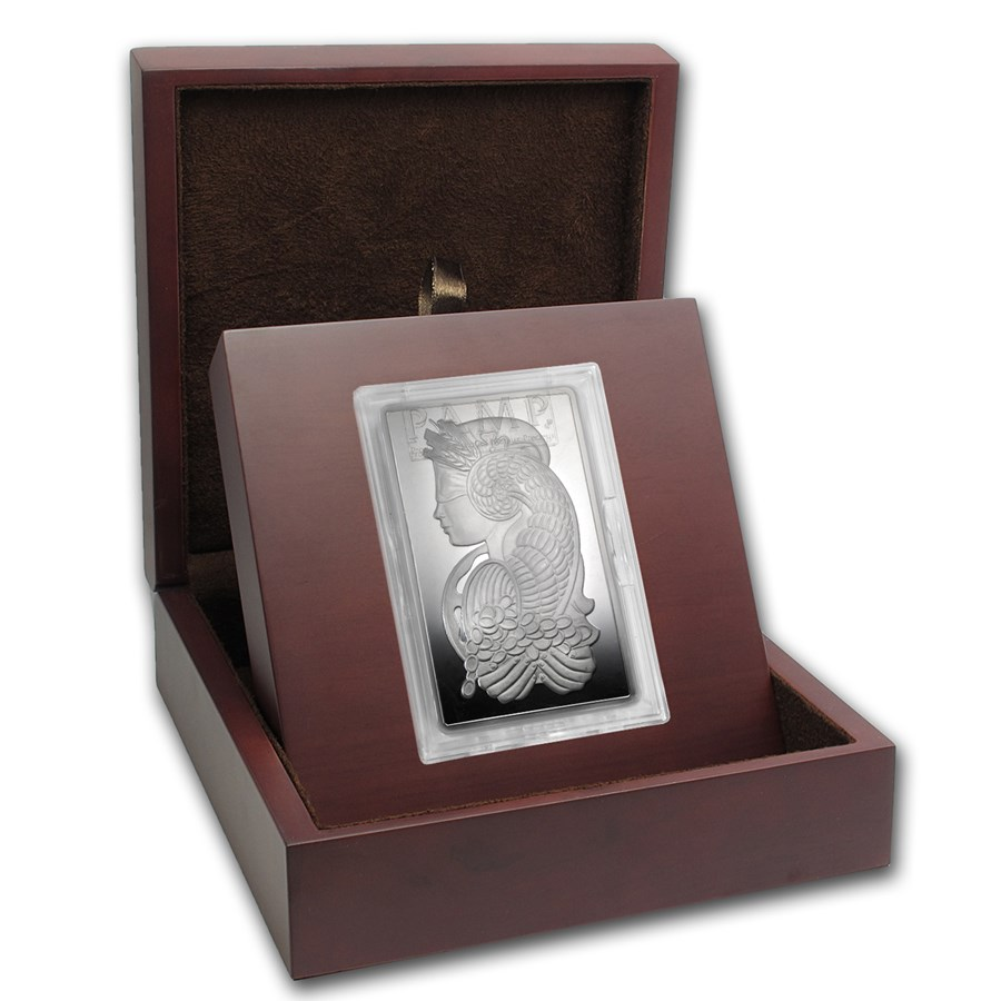 APMEX Wood Gift Box - 5 oz PAMP Suisse Silver Bar (w/Assay)