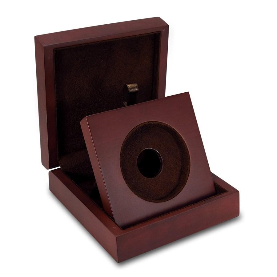 APMEX Wood Gift Box - 5 oz Perth Mint Silver Coin Lunar Series 2