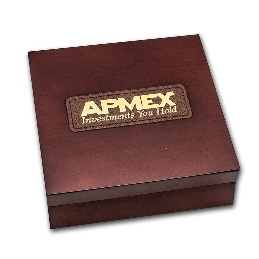 APMEX Wood Gift Box - 5 oz US Mint ATB Silver Coin w/Z10 Capsule