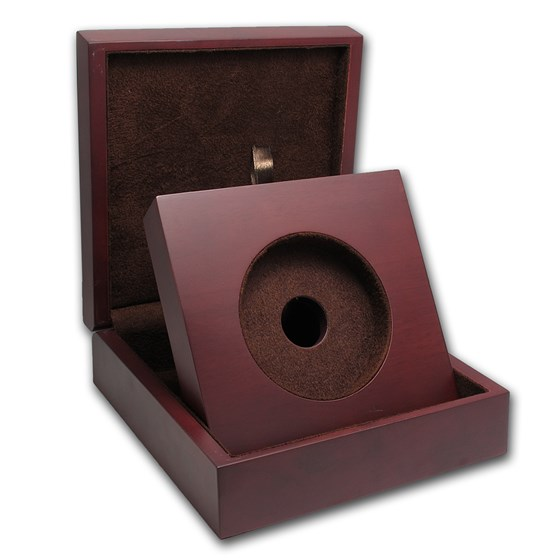 APMEX Wood Gift Box - 5 oz US Mint ATB Silver Coin w/Z5 Capsule