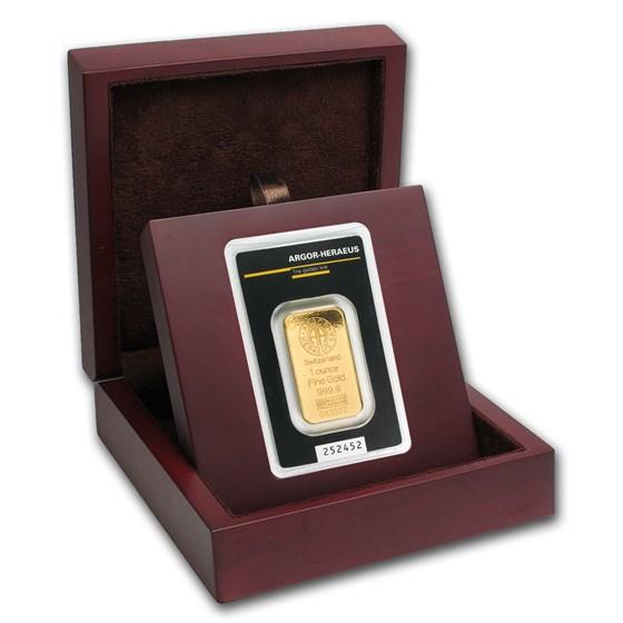 APMEX Wood Gift Box - Argor-Heraeus Gold Bar/Round (w/Assay)