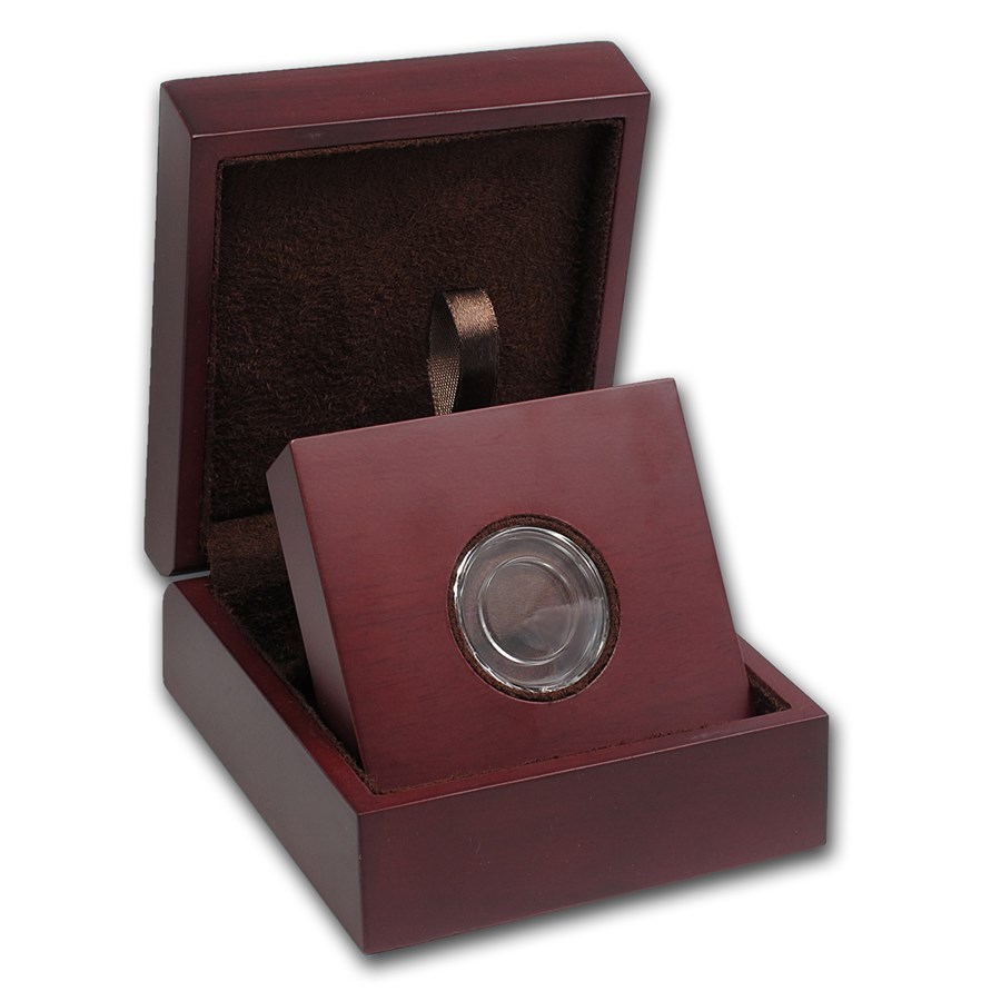 APMEX Wood Gift Box - Includes 18 mm Direct Fit Air-Tite Holder