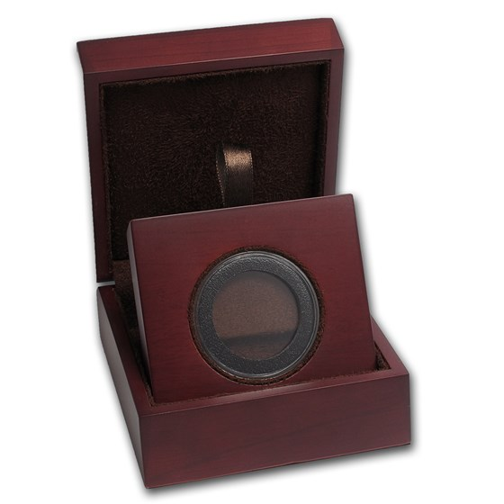 APMEX Wood Gift Box - Includes 31 mm Air-Tite Holder with Gasket