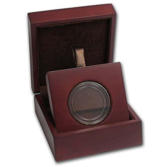 APMEX Wood Gift Box - Includes 32 mm Direct Fit Air-Tite Holder