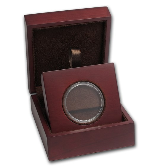 APMEX Wood Gift Box - Includes 38 mm Direct Fit Air-Tite Holder