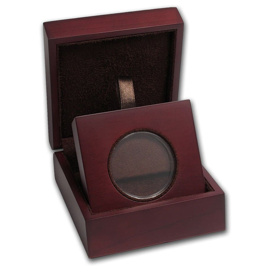 APMEX Wood Gift Box - Includes 40 mm Direct Fit Air-Tite Holder
