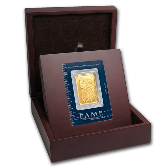 APMEX Wood Gift Box - PAMP Suisse Gold Bar (w/Assay)