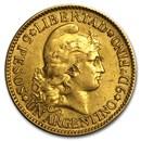 Argentina Gold 5 Peso (Random) XF