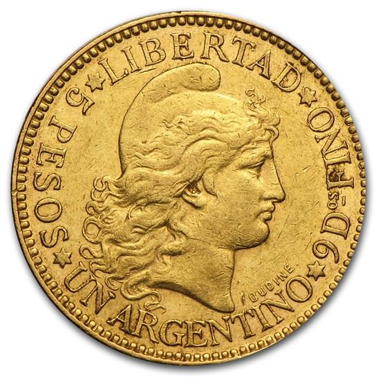 Argentina Gold 5 Pesos Un Argentino (1881-1896) Avg Circ