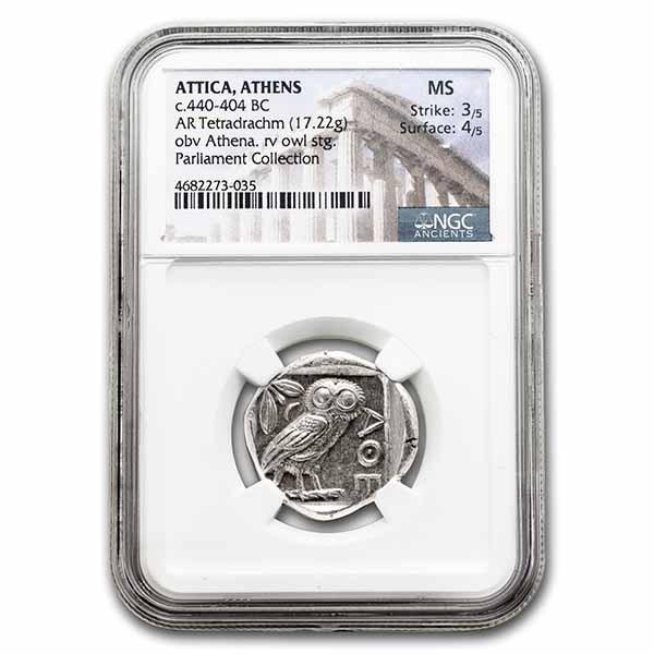 Athens AR Tetradrachm Owl (440-404 BC) MS NGC (Parliament Col)