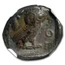 Attica Athens Silver Drachm Owl (450-404 BC) XF NGC