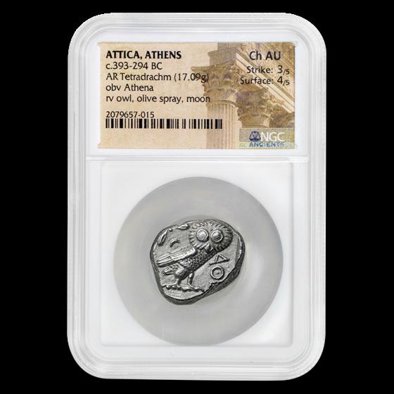 Attica Athens Silver Tetradrachm Owl (393-294 BC) Ch AU NGC