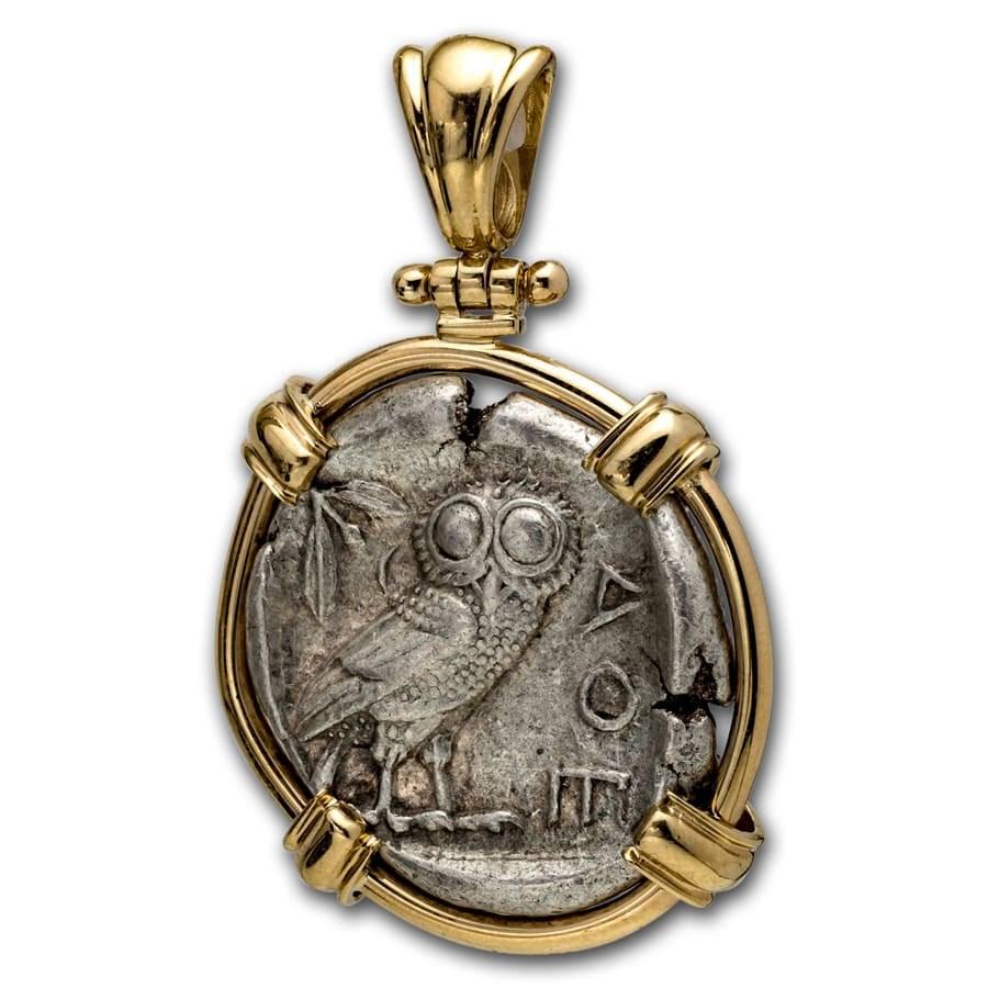 Attica Athens Silver Tetradrachm Owl (440-404 BC) 14 K Gold Bezel