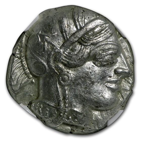 Attica Athens Silver Tetradrachm Owl (440-404 BC) AU NGC