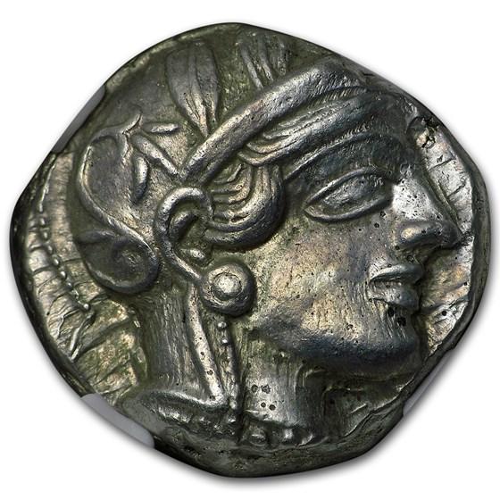 Attica Athens Silver Tetradrachm Owl (440-404 BC) CH AU NGC