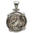 Attica, Athens Silver Tetradrachm Owl (440-404 BC) Sterling Bezel