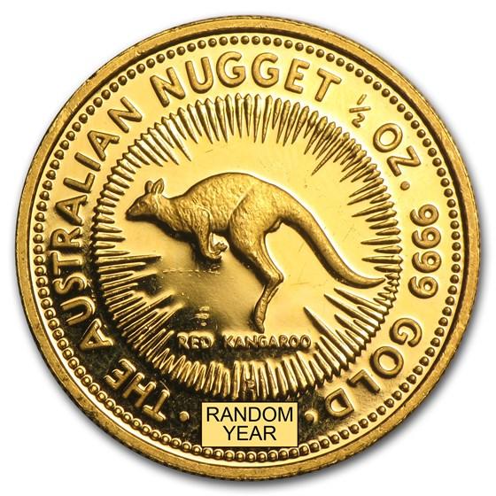Australia 1/2 oz Gold Kangaroo/Nugget BU (Random Year)