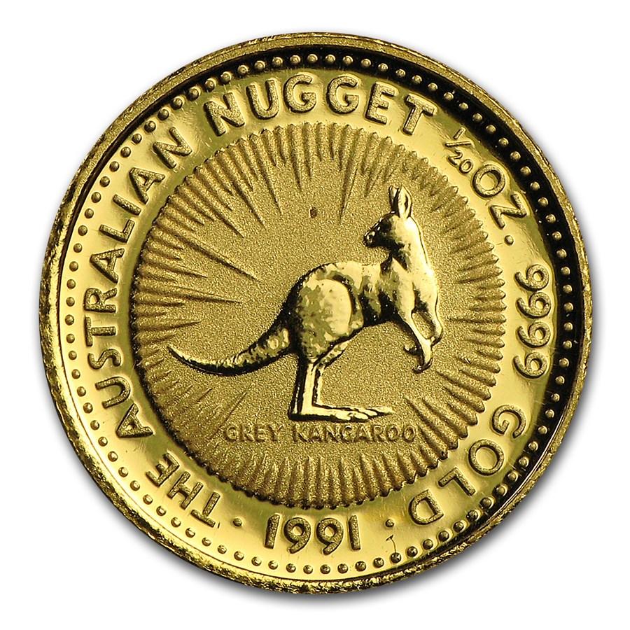 Australia 1/20 oz Gold Kangaroo/Nugget BU (Random Year)