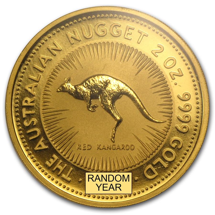 Australia 2 oz Gold Kangaroo &/or Nugget BU (Random Year)