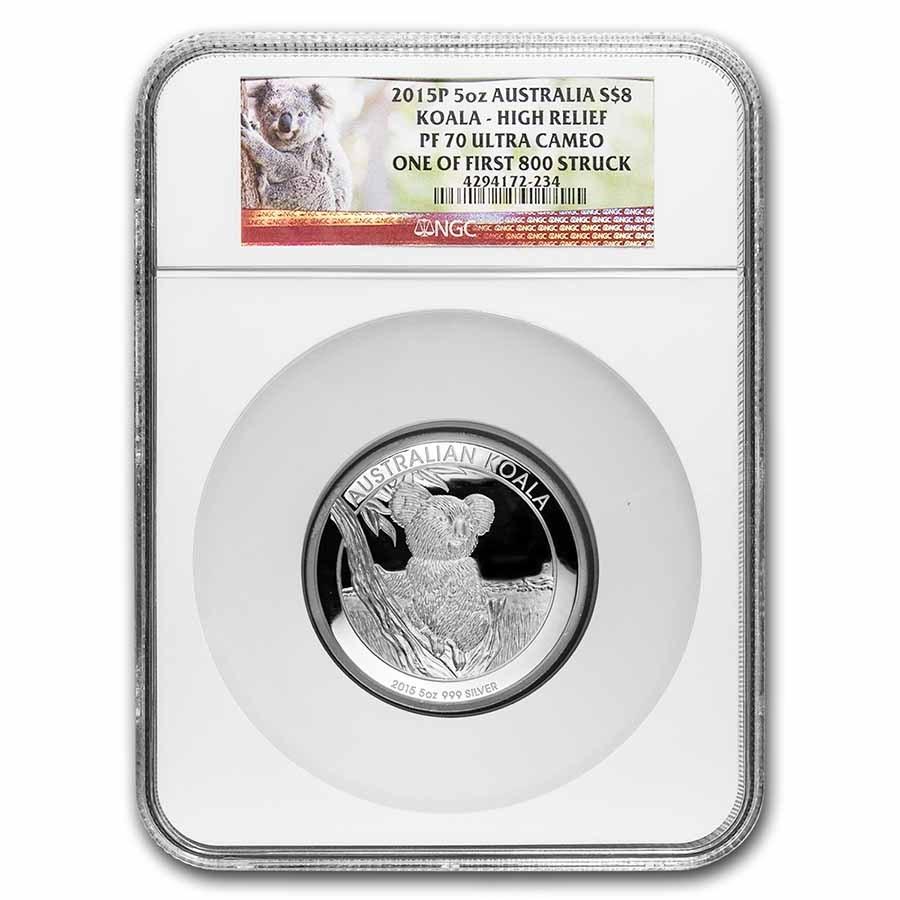 Australia 5 oz Silver Koala PF-70 NGC (Random Year)