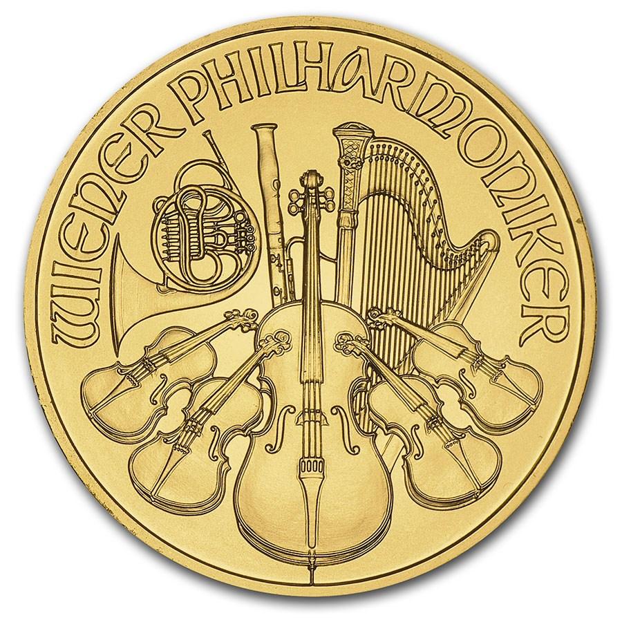 Austria 1/10 oz Gold Philharmonic BU (Random Year)