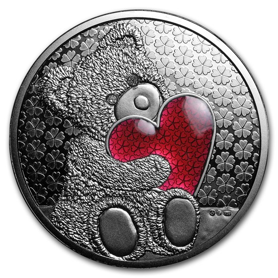 Austrian Silver Teddy Bear Round (Red Heart w/Diamonds)