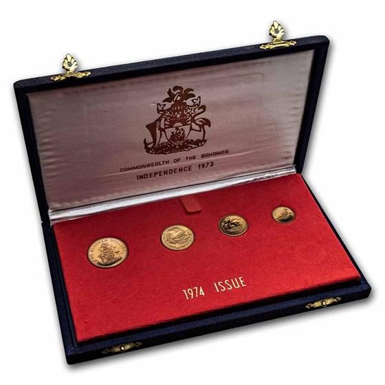 Bahamas 4-Coin Gold Proof Set (Random Dates, AGW .8046)
