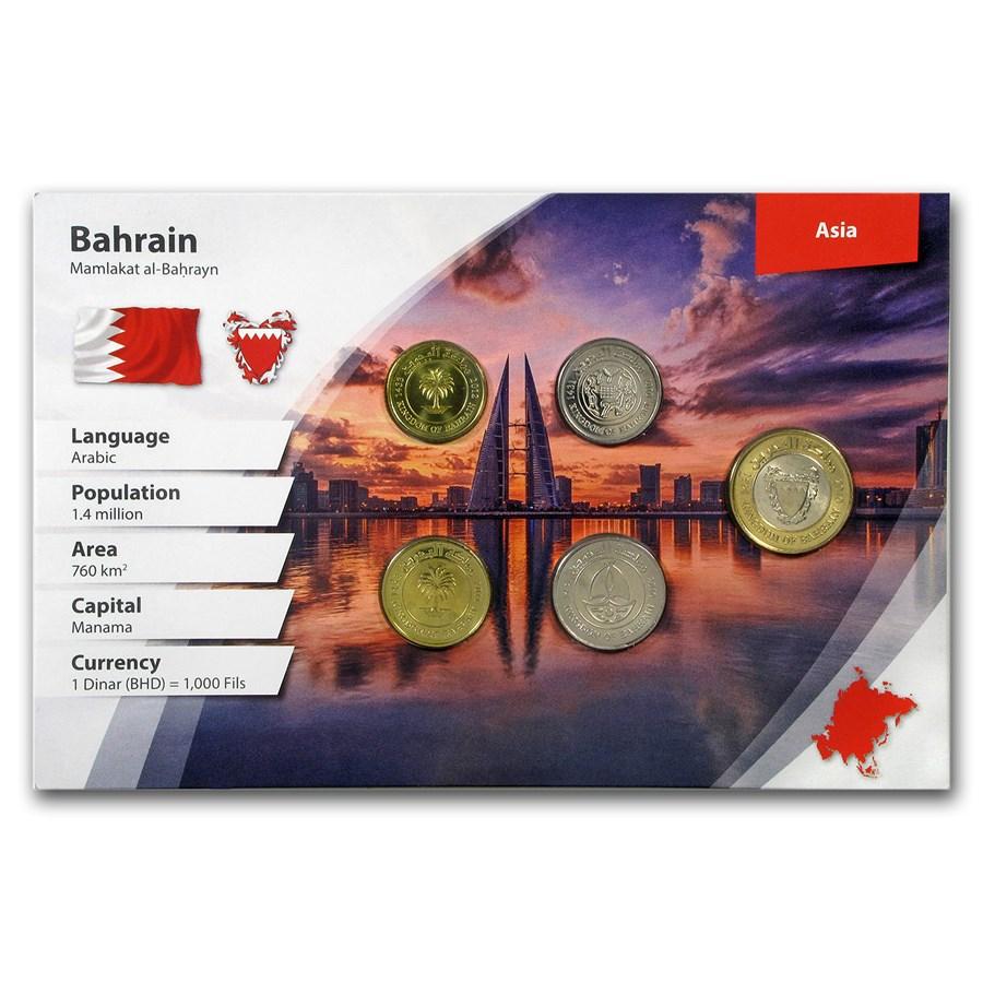 Bahrain 5 - 100 Fils 5-Coin Set BU (Landscape Packaging)
