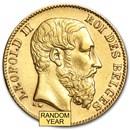 Belgium Gold 20 Francs Leopold II (1867-1882) Avg Circ