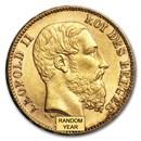 Belgium Gold 20 Francs Leopold II (1870-1882) BU