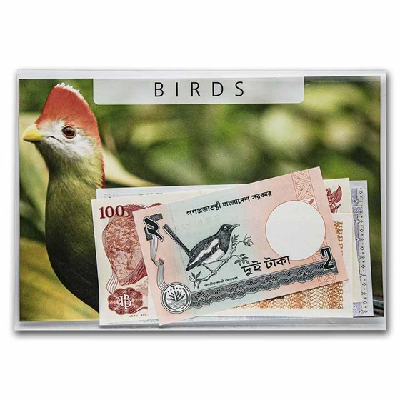 Bird Banknotes from Around the World 5-Banknote Set Unc