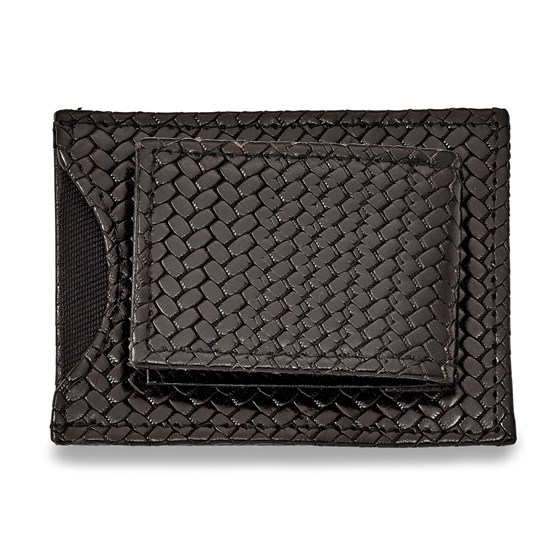 Black Leather Basketweave Money Clip with Attached Cardholder