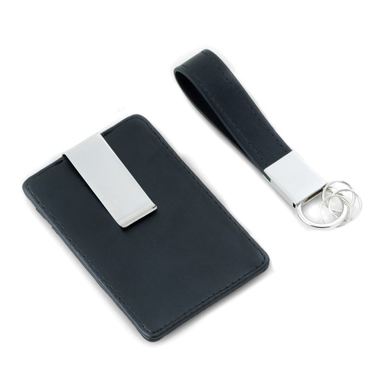 Black Leather Card Case Money Clip & Ket Ring Gift Set