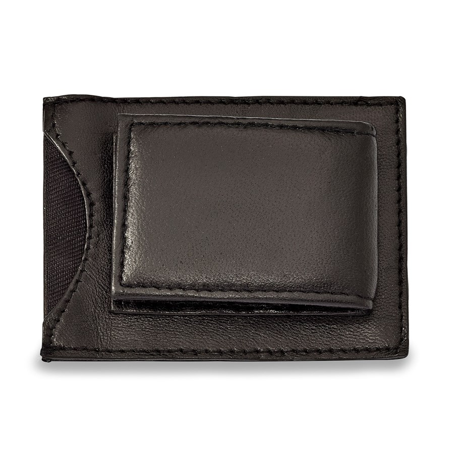 Black Leather Magnetic Money Clip with ID Slot