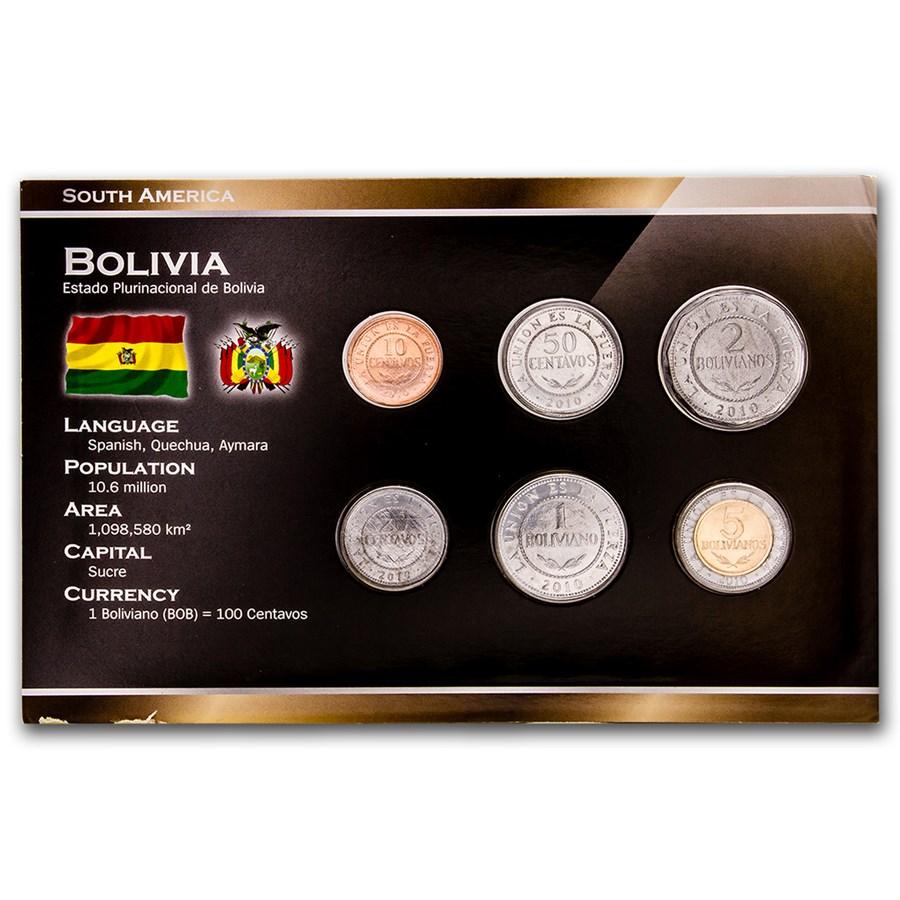Bolivia 10 Centavos - 5 Boliviano Set BU (Random)