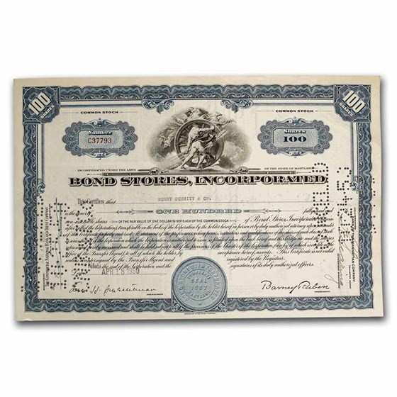 Bond Stores, Incorporated Stock Certificate (Blue)