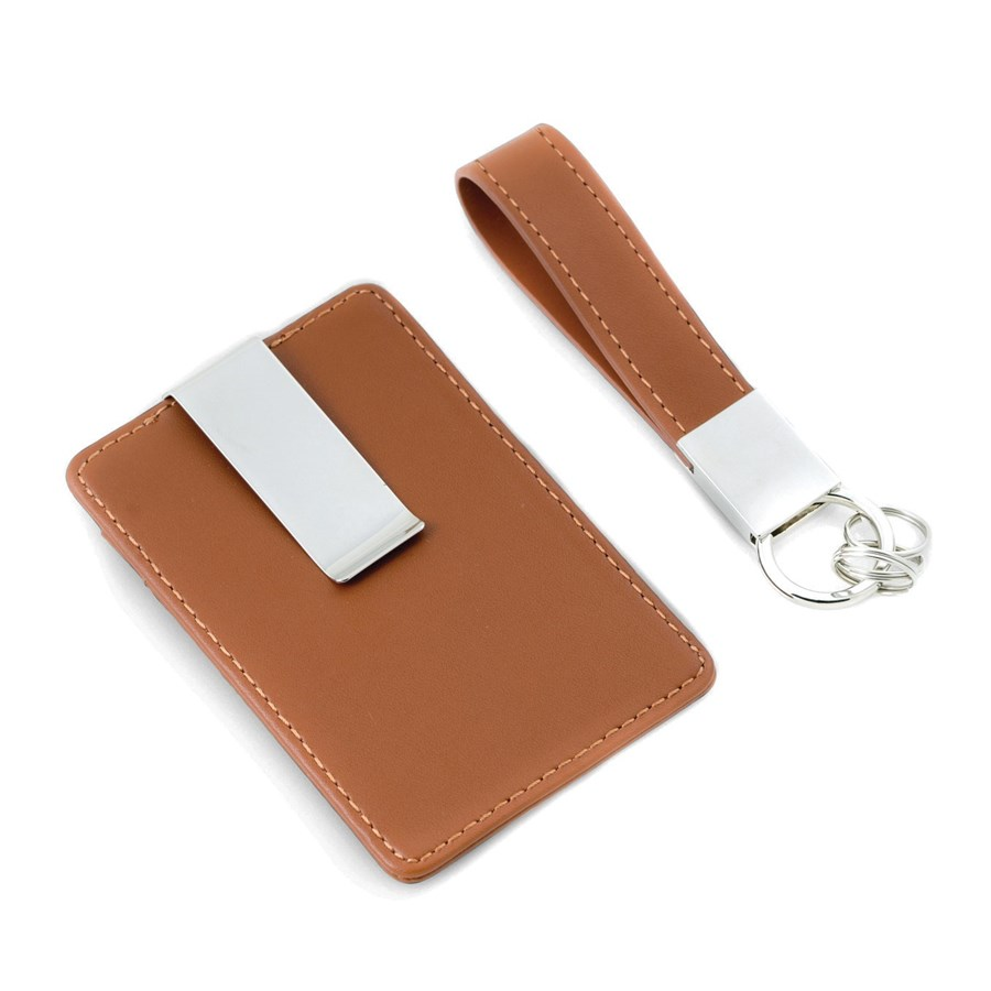 Brown Leather Card Case Money Clip & Ket Ring Gift Set