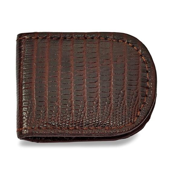 Brown Leather Lizard Grain Money Clip