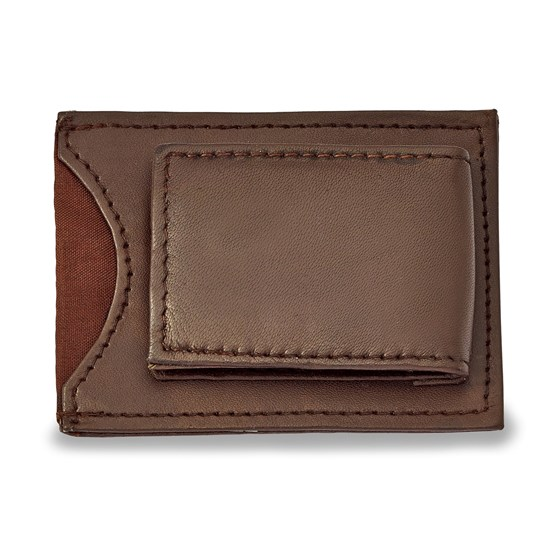 Brown Leather Magnetic Money Clip with ID Slot