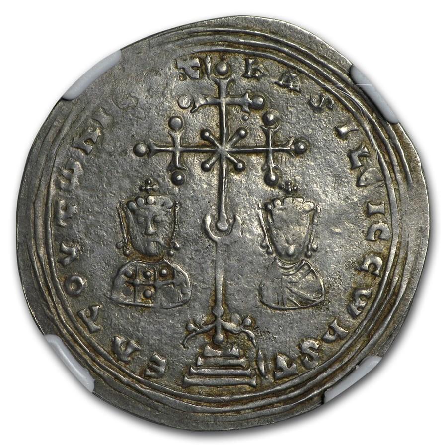 Byzantine AR Milliaresion Basil II & Con. VII 976-1025 AD XF NGC