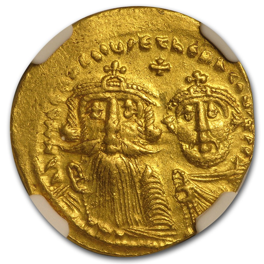Byzantine Au Solidus Emp. Heraclius & Her. (613-641 AD) Ch AU NGC