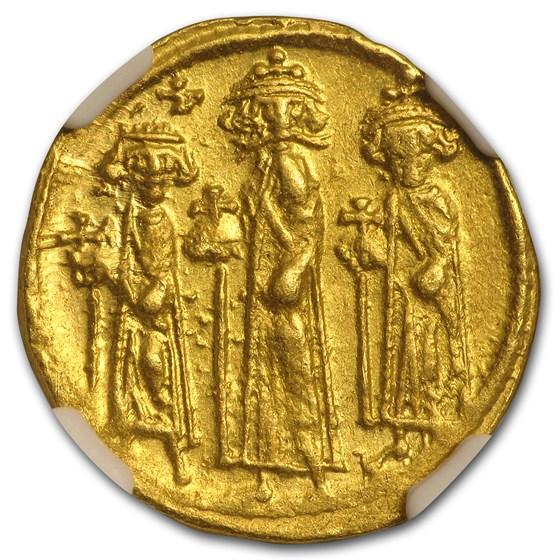 Byzantine Au Solidus Emp Heraclius,Her,Con. 632-641 AD Ch AU NGC